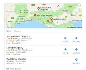 Website Design Dorset Google search results
