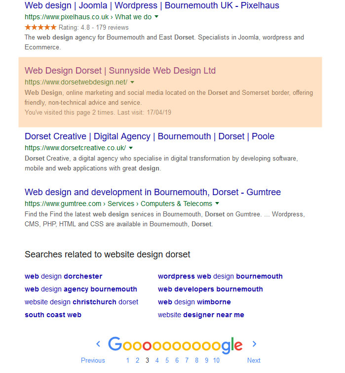 Google Placement for Sunnyside Web Design